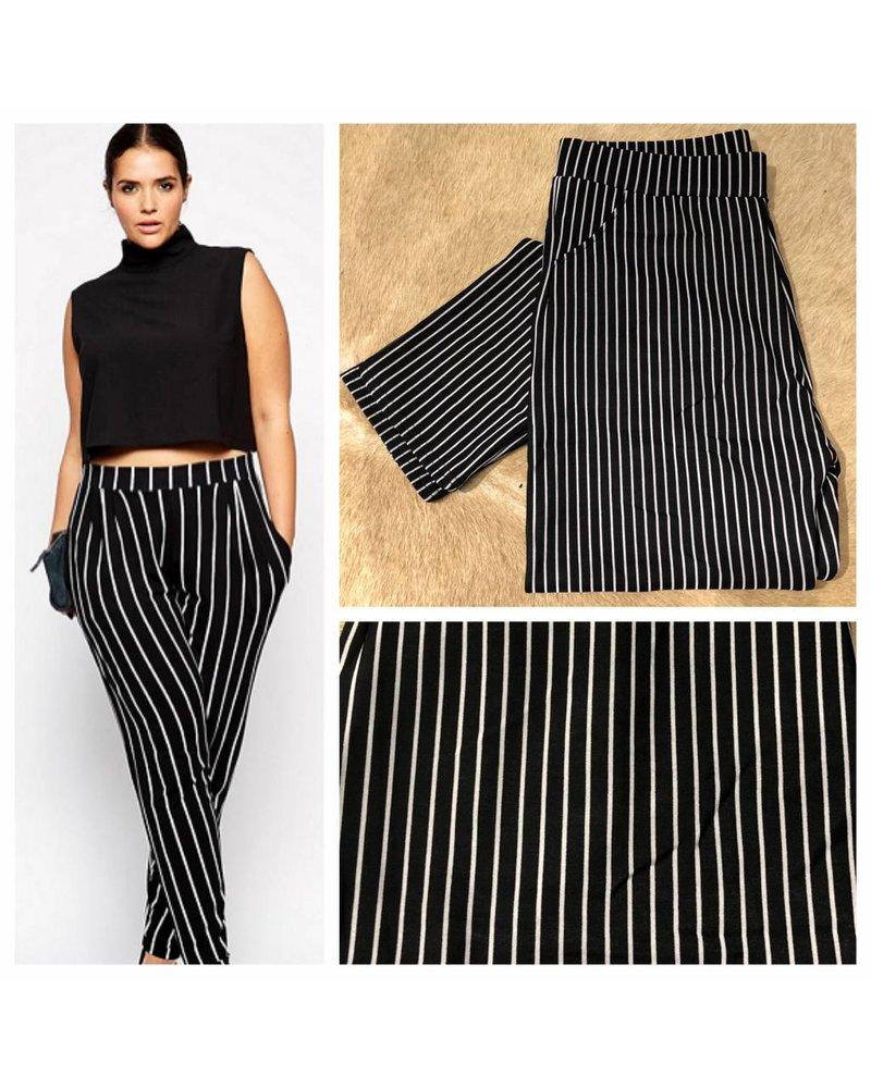 Plus Size - Striped Pants - Plus Size