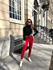 Double Striped Leopard Jogging - Red