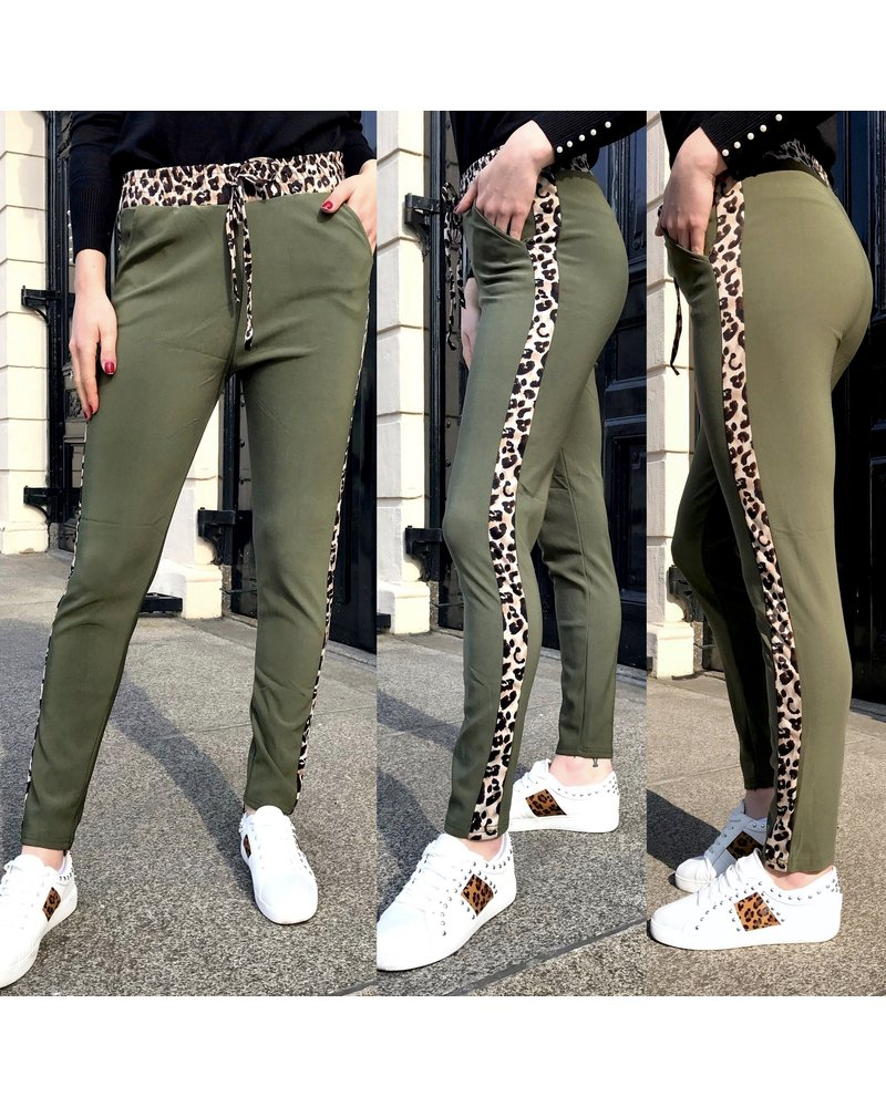 Perfect Leopard Striped Jogging- Army Green