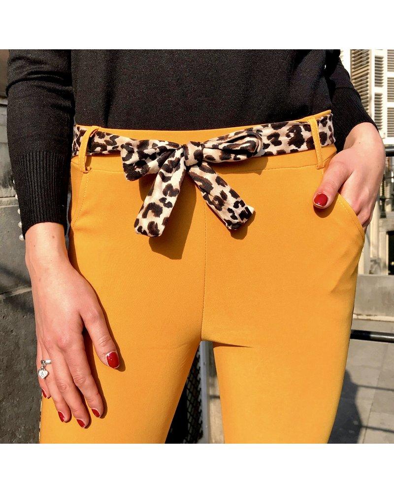 Fancy Leopard Strik Pants - Oker