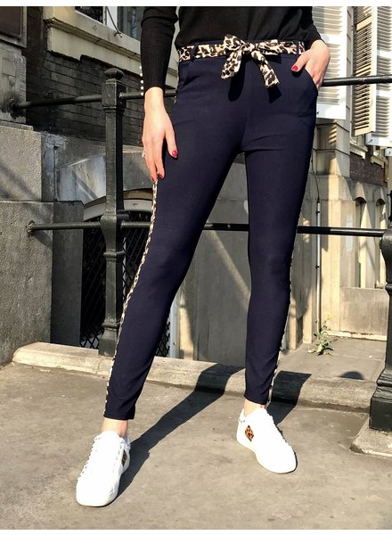 Fancy Leopard Strik Pants - Navy