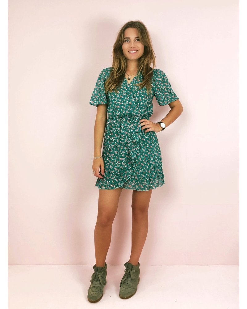 Golden Dot Flower Dress - Seagreen