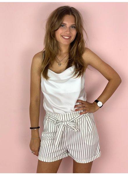Stylish Striped Summer Short - White/Black