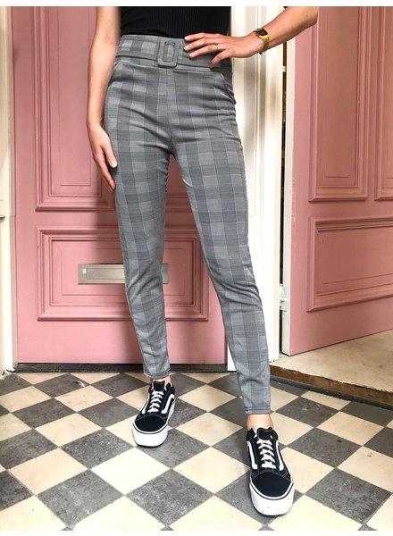 Checkered Buckle Pants - Grey