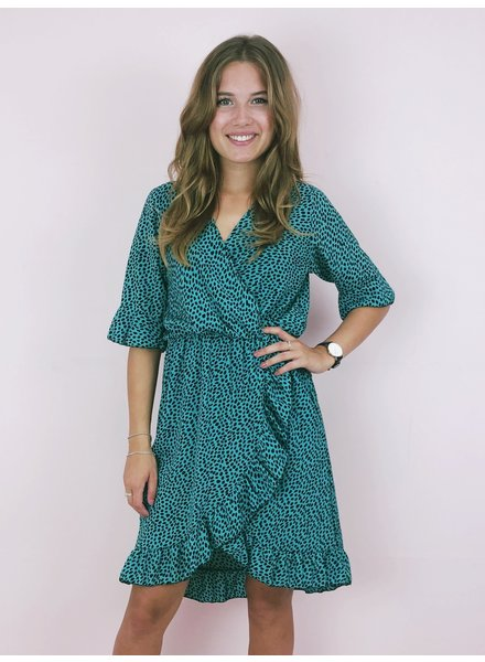 Short Spanish Cheetah Dress - Turquoise