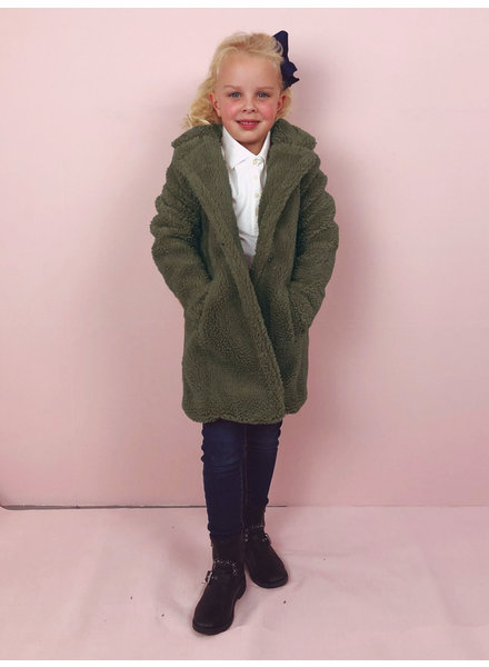 Teddy Coat Kids - Army Green