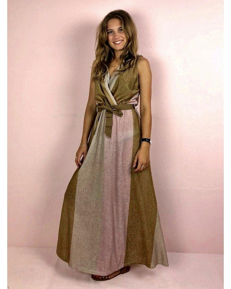 Shiny Striped Pastel Dress - Light Pink/Brown