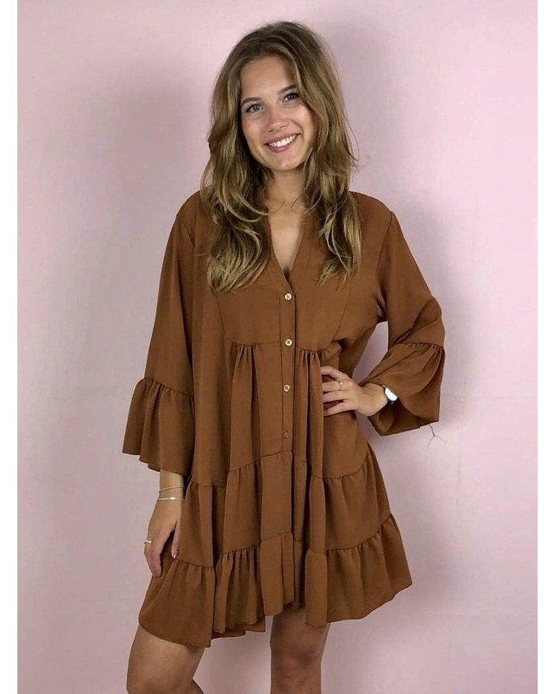 Bella Button Dress - Brown