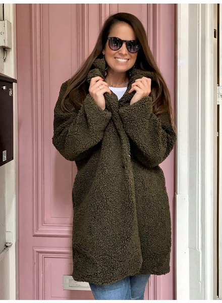 Teddy Coat - Army Green