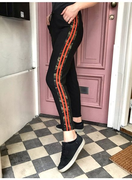Army Striped Jogging - Black Orange