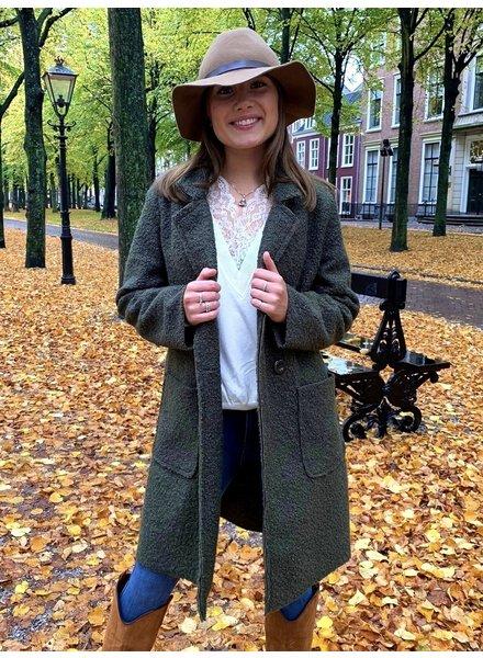 Chloe Teddy Coat - Army Green
