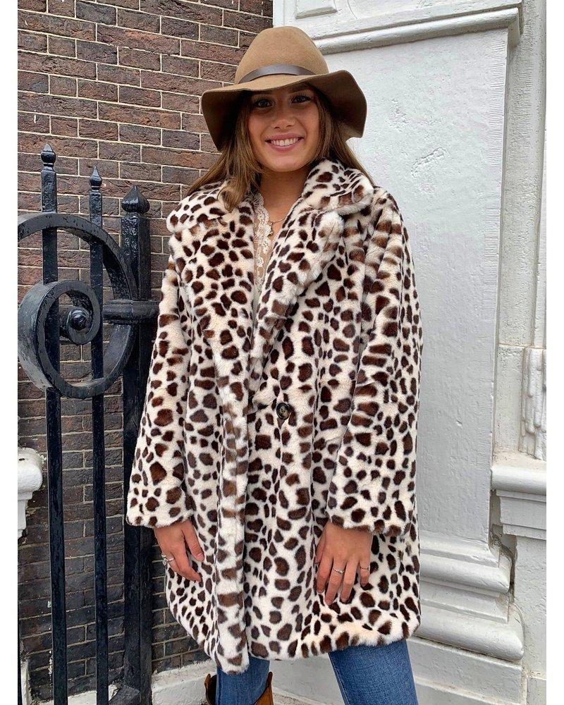 Leopard Winter Coat - White