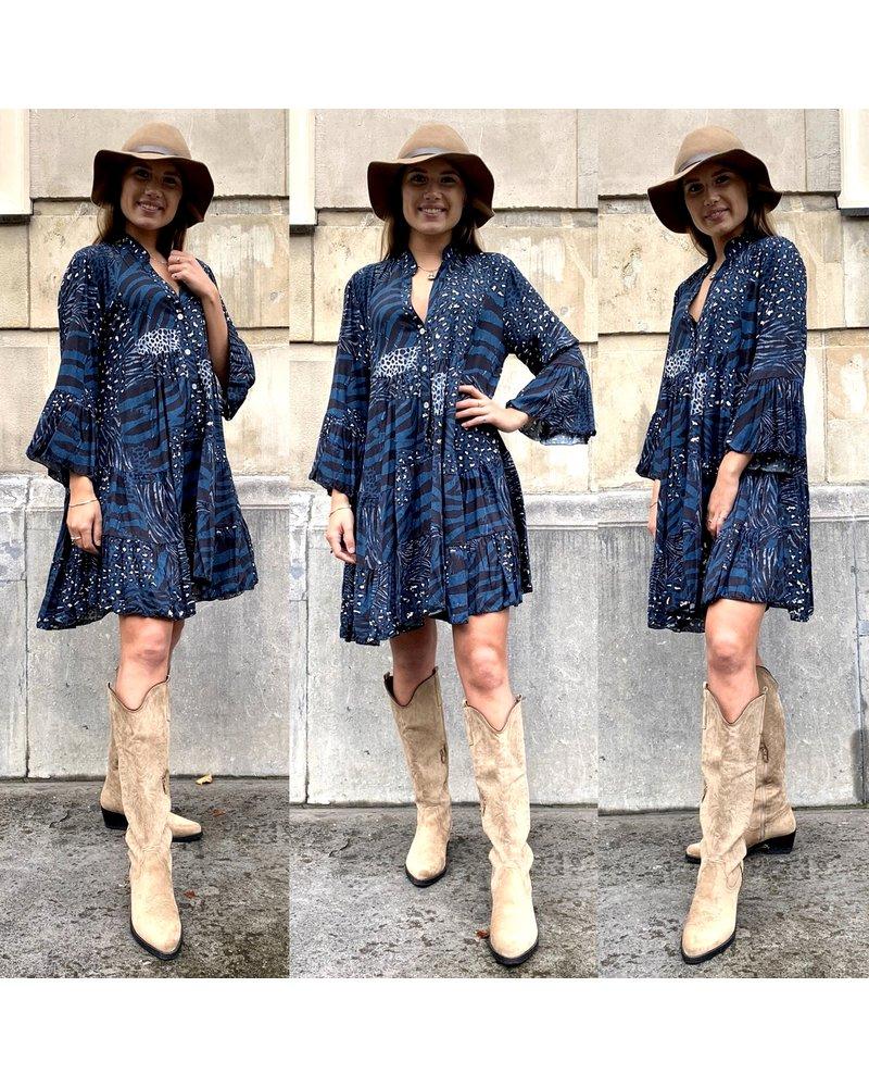 Animal Print Dress - Blue