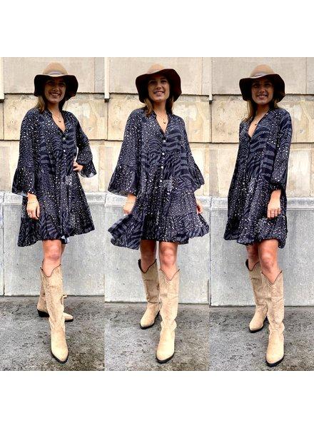 Animal Print Dress  - Grey