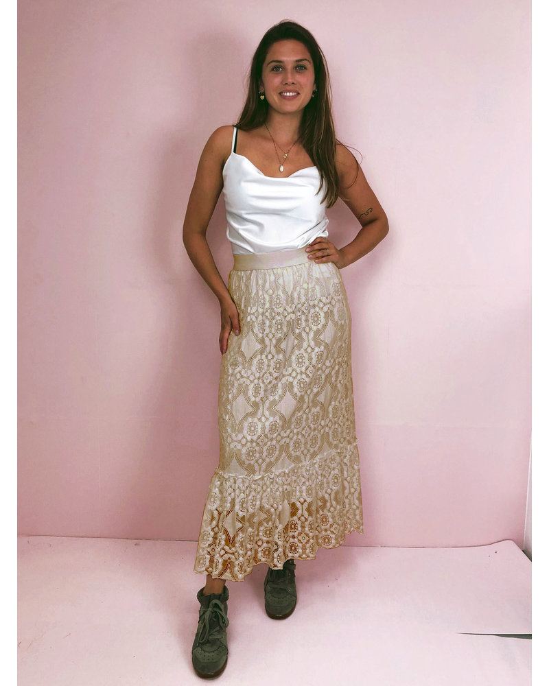 Maxi Lace Skirt – Beige