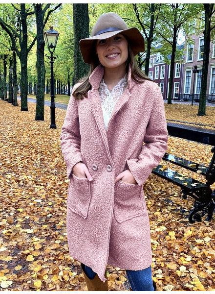 Chloe Teddy Coat - Light Pink