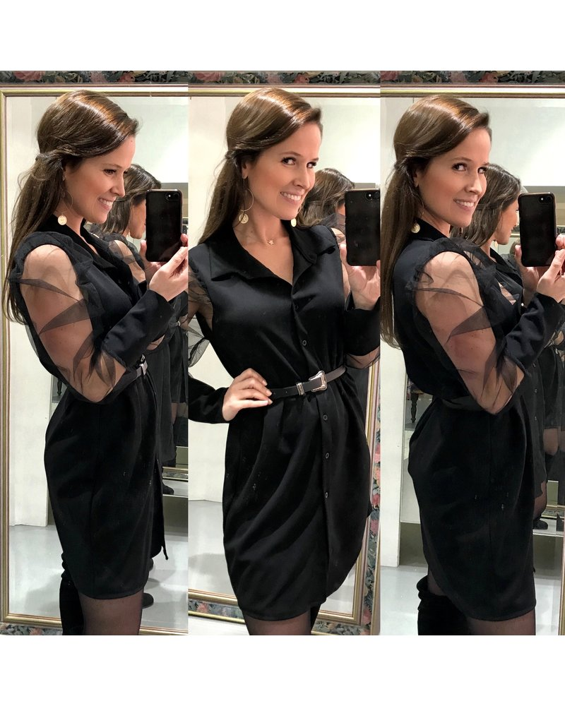 Perfect Puffy  Blouse Dress - Black