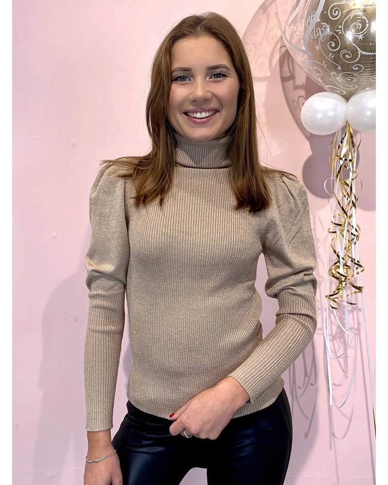 Puffy Sleeve Sparkle Sweater - Pink
