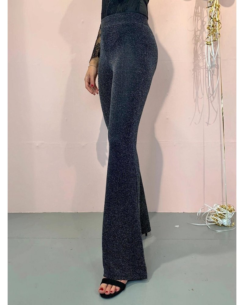 Glitter Maxi Flared Pants - Silver