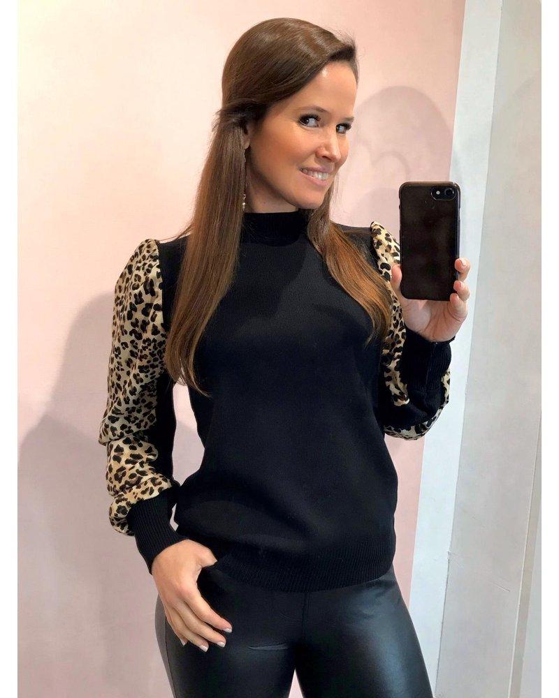 Leopard Sleeve Sweater - Black