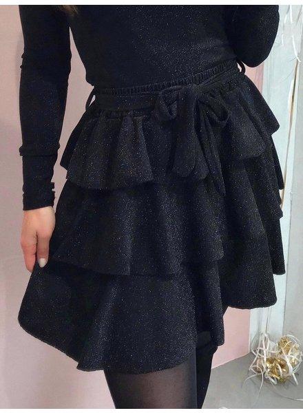 Ruffle Sparkle Skirt - Black