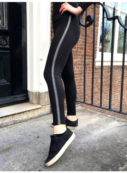 Silver Striped Legging - Black