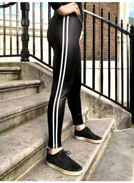 Striped Leather Look Legging - Black/White