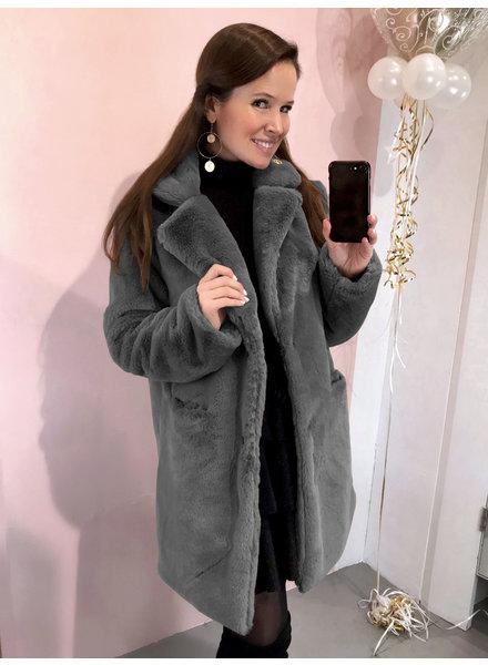 Paris Faux Fur Coat - Dark Grey
