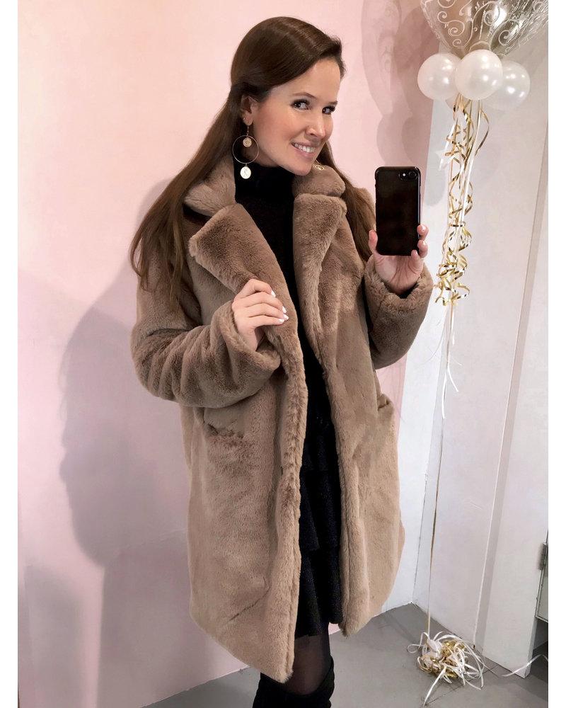 Paris Faux Fur Coat - Taupe