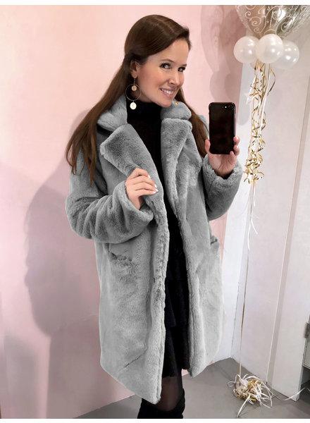 Paris Faux Fur Coat - Light Grey