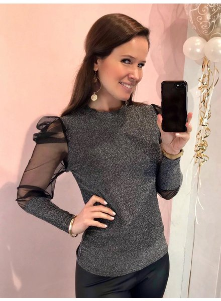 Sparkle Puffy Sleeve Top - Silver