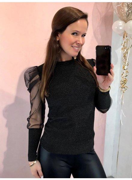 Sparkle Puffy Sleeve Top - Black