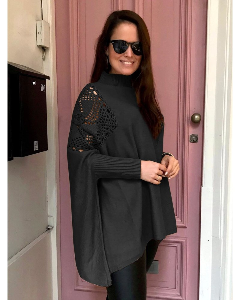 Oversized Open Sleeve Sweater - Black