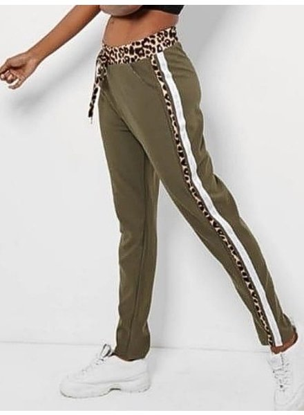 Double Striped Leopard Jogging - Army Green