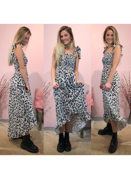 Long Leopard Dress - Beige