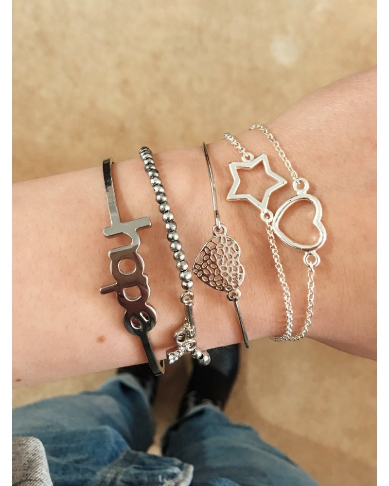 Cute Heart Bracelet - Silver