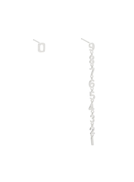 Number Earrings - Silver