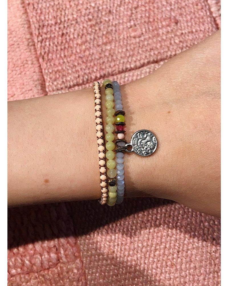 Coin Bracelet Set - Green/Blue