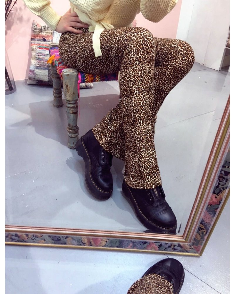 Small Leopard Flare Pants - Brown