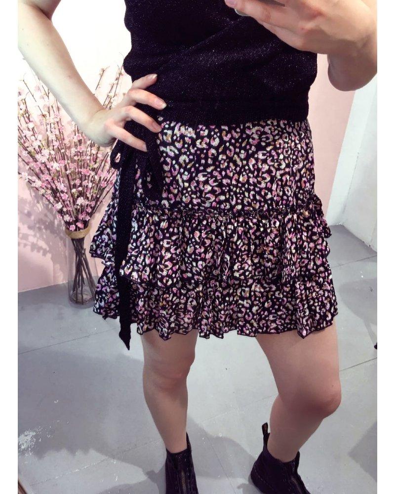 Ruffle Leopard Skirt - Black/Pink