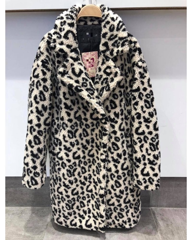 Teddy Leopard Coat - Ecru