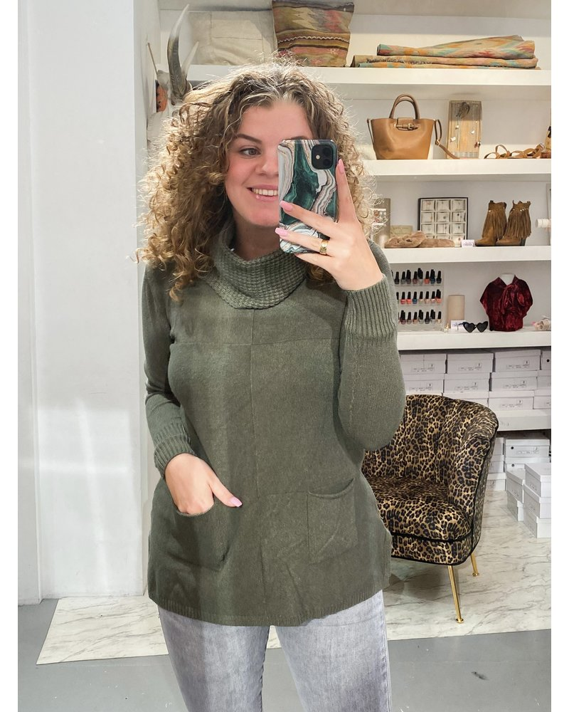 Cozy Col Sweater - Army Green