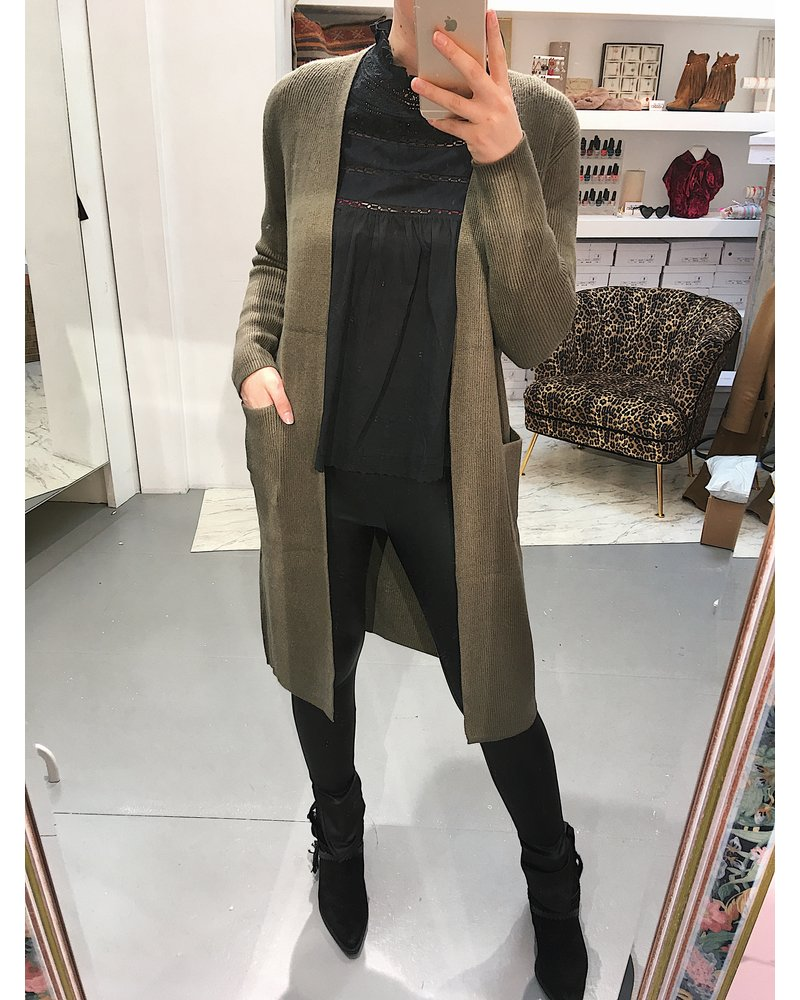 Extra Long Vest - Army Green