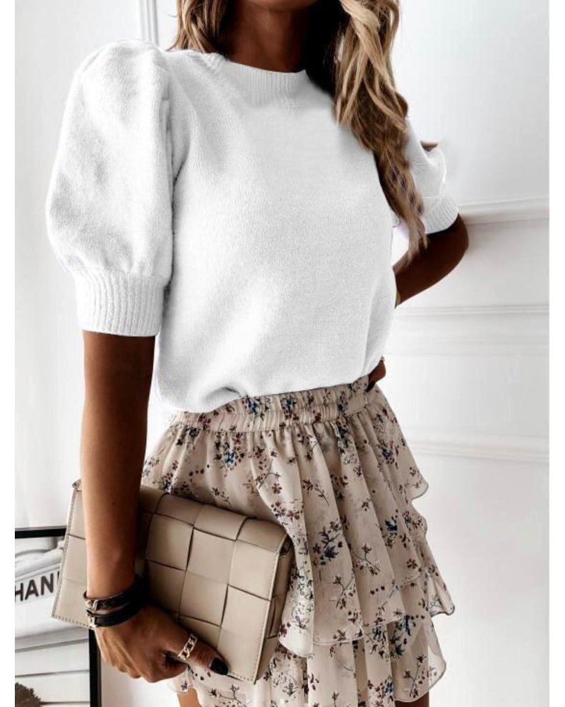 Perfect short sleeve sweater - White (PRE-ORDER)