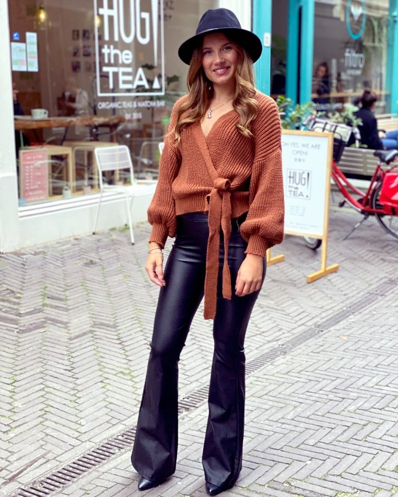Leather Flare Pants - Black