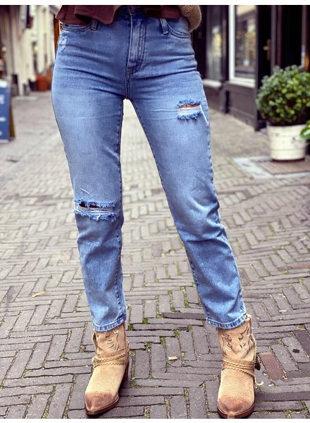 Ripped Straight Fit Mom Jeans - Blue