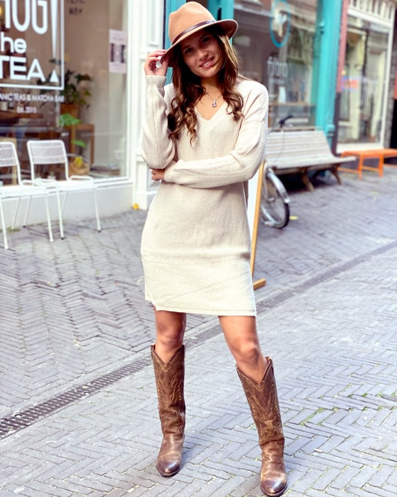Comfy Sweater Dress - Beige