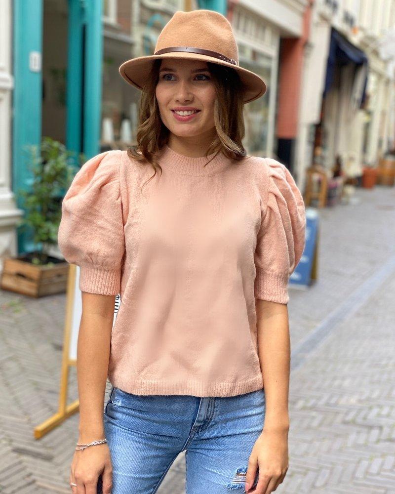 Puffy Short Sleeve Sweater - Light Pink