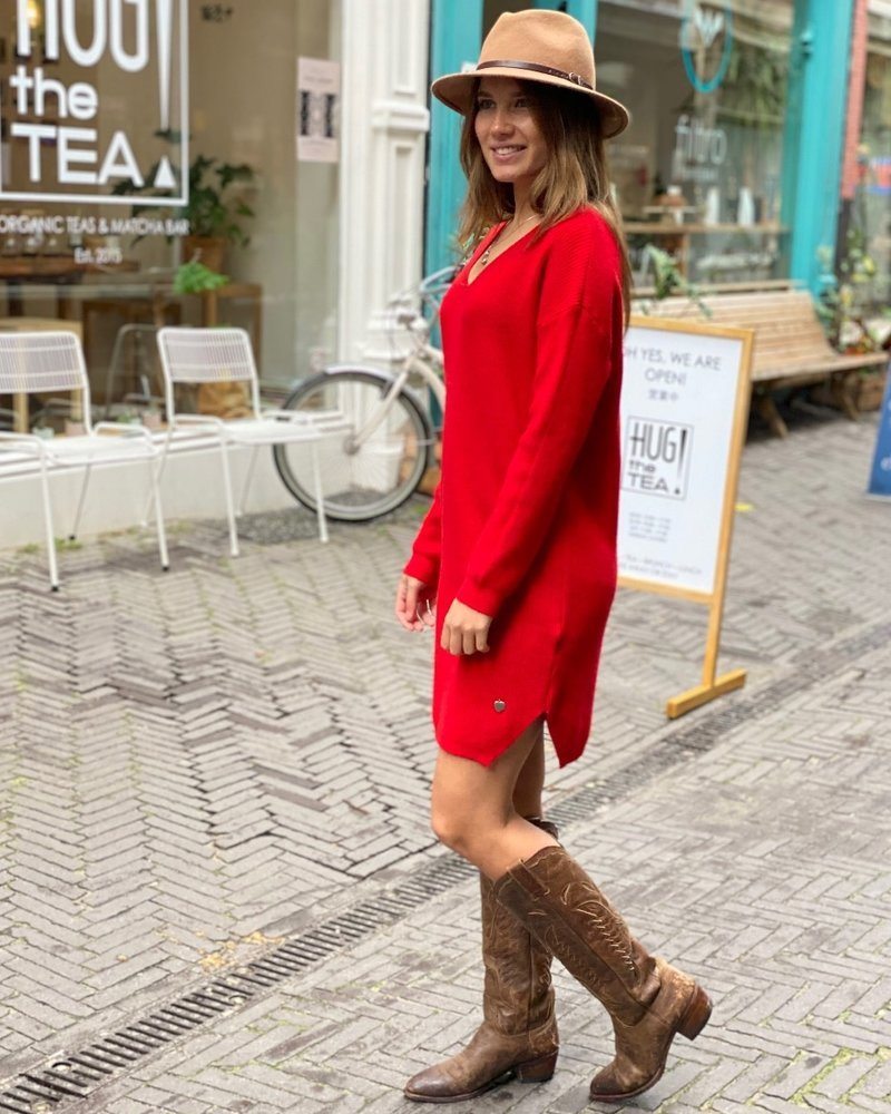 Comfy Sweater Dress - Red