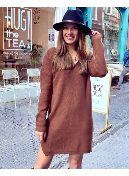 Comfy Sweater Dress - Brown
